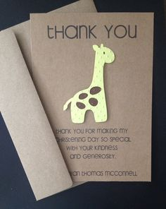 Giraffe Handmade Thank You Cards Custom Made for by SimpleandPosh