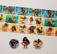 3 Yards & 3 Resin Mix. Lot Moana Inspired Grosgrain Ribbon #Unbranded