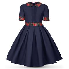 Girls Teen Formal Short Sleeve Dark Blue Dress - Casual Official - Belt Cuffs and Collar with Plaid Patches - Pleated Hem - Puritan Collar Baby African Clothes, African Dresses For Kids, Latest African Fashion Dresses, Dresses Kids Girl, Kids Dress Wear, Kids Gown, Office Dresses For Women, Baby Girl Dress Patterns, Blue Dress Casual