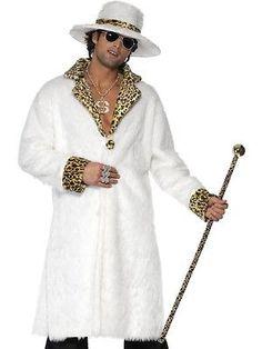 ADULT MENS PIMP COSTUME WHITE AND LEOPARD SKIN 1970S DISCO FANCY DRESS - MEDIUM