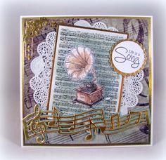 6002/0272 Noor! Design Cutting & Embossing stencil muziek noten door janet Blaauw