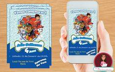 Convite Patrulha Caninha Digital, convites, infantil, festa infantil, patrulha canina.