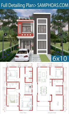Home Design Plan with 3 Bedrooms. Home Design Plan with 3 Bedrooms. Small House Floor Plans, My House Plans, Duplex House Plans, Modern House Plans, Duplex House Design, Simple House Design, House Front Design, Modern House Design, Casas Containers