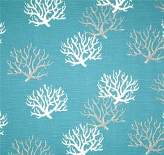 coastal blue white coral fabric designer cottage home decor fabric by the yard cotton drapery upholstery fabric coastal blue white grey b109 - Home Decor Fabrics By The Yard