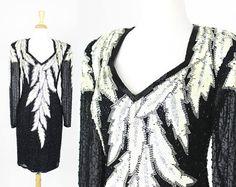 Vintage Sequin Dress Lillie Rubin Size Large Black White 80s Prom Dress Sheer Sleeves Beaded