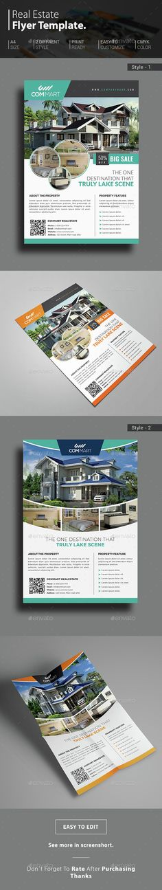 Real Estate Flyer Template + Real Estate Magazine Ad Design Template | Real…                                                                                                                                                     More