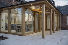 Oak Orangery, oak building and porch. Call for details 01423 593794 Orangery Extension Kitchen, Kitchen Orangery, Porch Extension, House Extension Plans, Cottage Extension, House Extension Design, Glass Extension, House Design, Rear Extension