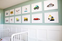 "How fun is this ""Things That Go"" gallery wall over the wainscoting in a classic baby boy nursery?!"