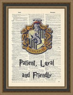 Harry Potter Hufflepuff crest, typography Patience, Loyal and Friendly print. Kids decor, Hogwarts Poster, Nursery Print, Hufflepuff Print. by PrintsWithStyle on Etsy https://www.etsy.com/listing/218474122/harry-potter-hufflepuff-crest-typography