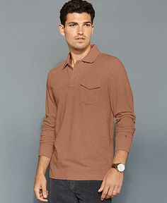 Tommy Hilfiger Shirt, Slim Fit Long Sleeve Penfield Polo Shirt $37