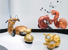 Australian artist Patricia Piccinini deals with artificial intelligence and the idea of artificial emotion with her genetic engine sculptures. The visual a