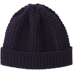 Peter Jensen Waffle Knit Hat (€75) ❤ liked on Polyvore featuring accessories, hats, beanie, navy, navy blue hat, navy beanie hat, chunky beanie, waffle beanie and beanie hat