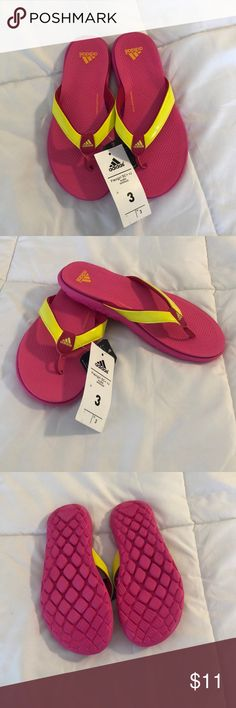 07f768954 Adidas Flip Flops Girls Size 3 Bright Pink and Yellow Adidas SuperCloud  Plus Flip Flops.