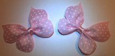 Pink Polka Dotted Grosgrain Butterfly Hair Bow by JENSTARDESIGNS, $4.50