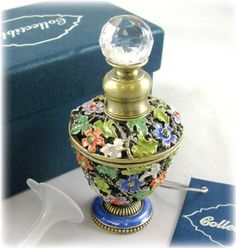 .5 ounce (15 ml) French Lavender Essential Oil in Flowered Glass Bottle Swarovski Crystals White Blue Green Orange... $34.95