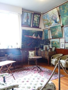 Monet's Home in Giverny, France: First Floor Living Room. It would be AMAZING to have a tour of his home