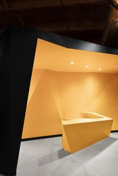 Geometric, bright and colorful reception area from PixMob Offices – Montreal