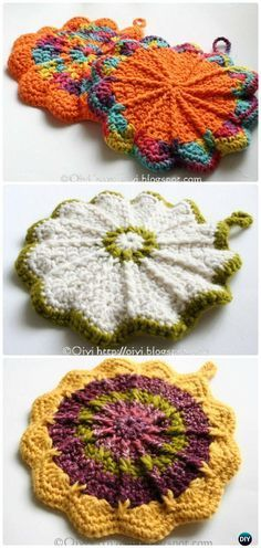 Crochet Scalloped Potholder Free Pattern - #Crochet Pot Holder Hotpad Free Patterns