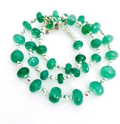 Green Faceted Onyx Gemstone Necklace, Emerald Green Onyx Beaded Jewellery, Semi Precious Stone Jewelry, Handmade Gift For Her, 18 inch by PreciousHCJewellery on Etsy