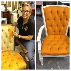 Yes! You can paint fabric with Chalk Paint®! Barcelona Orange and Old White by TLC Design Studio.