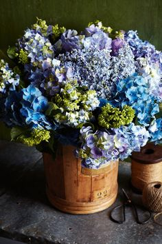 Hydrangea in a herb bucket from Montreux.  Styling: Indianna Foord Photo: LindaWoo