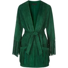 ENES Suede Kimono Fringe Jacket - Emerald Green ($1,180) ❤ liked on Polyvore featuring outerwear, jackets, emerald green, suede jacket, tassel jacket, fringe kimono, suede fringe jacket and retro jackets