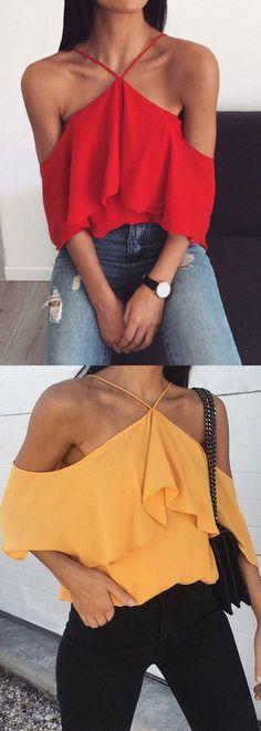 Blusa Ciganinha Ombro Vazado Com Babado | UFashionShop - #blouse