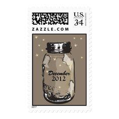 Vintage Mason Jar & Fireflies Postage