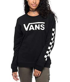 dea726a55f9 Vans Big Fun Checkerboard Black   White Crew Neck Sweatshirt Vans Hoodie