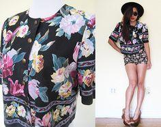 Vintage 80's cropped jacket top floral flower black by RebelCloset, $45.99