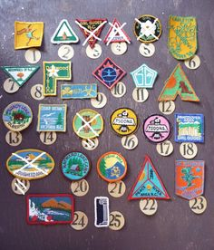 Moonrise Kingdom colors, girl guides/girl scouts vintage badges, you choose one, Group A, small / medium on Etsy, $3.50