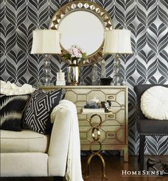 Highlight a black and white room with stunning gold accents. | HomeSense.ca