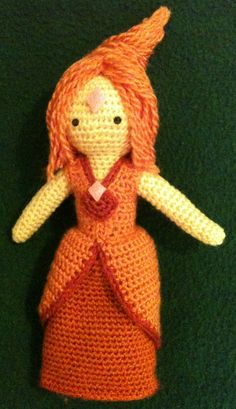 Oh my gosh I am totally making this in the future! Flame Princess from Adventure Time! Quick Crochet Patterns, Crochet For Kids, Crochet Cross, Knit Crochet, Adventure Time Crochet, Knitting Projects, Crochet Projects, Flame Princess, Japanese Crochet