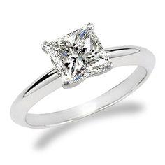 Wedding Band Engagement Ring Princess Cut Diamond by usajewelry