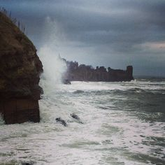 The North Sea pounding the St Andrews cliffs with the Castle in the background St Andrews Scotland, Sea Cliff, Stormy Sea, Twelfth Night, North Sea, Most Beautiful Cities, Niagara Falls, Places To Visit, Castle