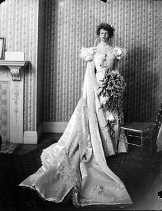 Eleanor Roosevelt on her wedding day.  Early 20th century; What a beautiful dress and she looks beautiful and elegant here.