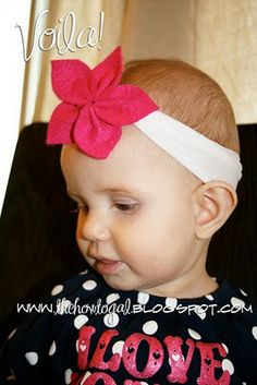 "nylon to headband + felt to flower = cuteness!!!  easy directions to make adorable headbands for your little princess... maybe I should have posted this in ""reborn repurposed reused""...???"