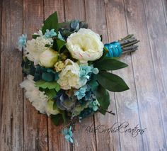 Garden Bouquet in Cream and and Teal Turquoise Aqua Vintage Inspired Bouquet Shabby Chic Bouquet Wedding Bouquet Teal Bouquet , Teal Wedding Bouquet, Turquoise Wedding Flowers, Teal Bouquet, Aqua Wedding, Teal Flowers, Diy Bouquet, Bridesmaid Bouquet, Diy Wedding, Wedding Ideas