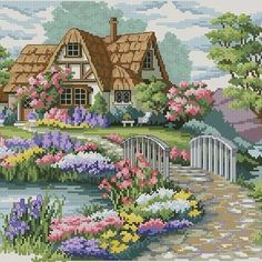This Pin was discovered by Iul Cross Stitch House, Cross Stitch Kits, Cross Stitch Charts, Funny Cross Stitch Patterns, Cross Stitch Designs, Ribbon Embroidery, Cross Stitch Embroidery, Cross Stitch Landscape, Scenery Pictures