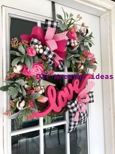 Black and White Buffalo Check Ribbon with Pink Gingham. DIY Valentine Wreath Crafts - Adorable Valentine's Day Decor Ideas for Your Door. DIY Valentine Wreath Crafts - Adorable Valentine's Day Decor Ideas for Your Door. Diy Valentines Day Wreath, Valentines Day Decorations, Valentine Day Crafts, Valentine Ideas, Valentine Stuff, Valentines Sweets, Printable Valentine, Valentine Party, Kids Valentines