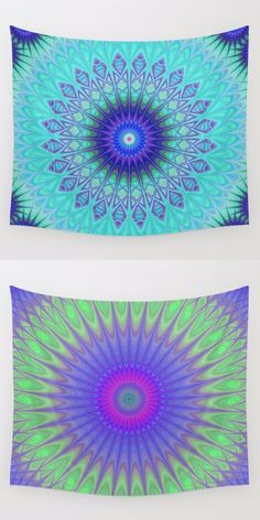 Cold - winter mandala wall tapestry collection. Mandala - boho chic - ethnic - indian - kaleidoscope tapestries - wall hangings.