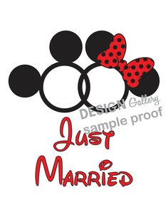 Just Married Mickey Mouse & Minnie Mouse Rings