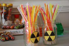 Mad Science Radioactive Rods (aka glow sticks)..  Credit:  Christine at Pure Joy Events Blog.  http://www.purejoyeventsblog.com/2010/07/mad-science-birthday-party.html
