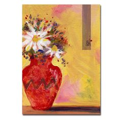 Red Vase with Daisy by Sheila Golden Painting Print on Wrapped Canvas