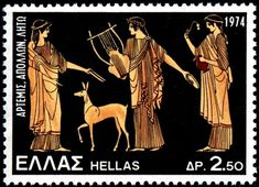 Stamp in a set depicting Greek mythological subjects on century BC vases, printed by lithography, and issued by Greece on June Decripción: Artemos, Apolo y Leto. Artemis, Old Greek, 5 Cents, Stamp Collecting, Greek Mythology, My Stamp, Apollo, Postage Stamps, Andorra