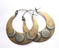 Large+Mixed+Metal+Hoop+Earrings++Big+Crescent+by+suntribedesigns,+$158.00