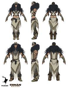 Armor set designs for DLC packs. Art direction by Gavin Whelan. Viking Character, Character Concept, Character Art, Character Design, Character Sheet, Armor Concept, Concept Art, Conan Exiles, Female Armor