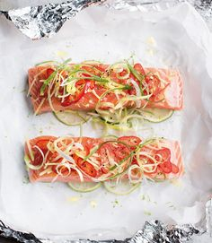 Wild Salmon Parcels with Asian-Style Salad - Recipe taken from my new book Nourish & Glow: The 10-Day Plan (page 170-171).