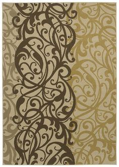 "HGTV HOME Flooring by Shaw Area Rug ""Delilah"" color Beige - gorgeous trend forward scroll work pattern in chocolate, gray taupe & gold."