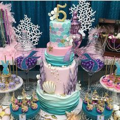 Mermaid Birthday Cake - I don't like the way they executed the top layer but I like the overall idea of this one. Little Mermaid Birthday, Little Mermaid Parties, Mermaid Theme Birthday, 2nd Birthday Parties, Girl Birthday, Birthday Ideas, Birthday Cakes, Mermaid Baby Showers, Baby Mermaid